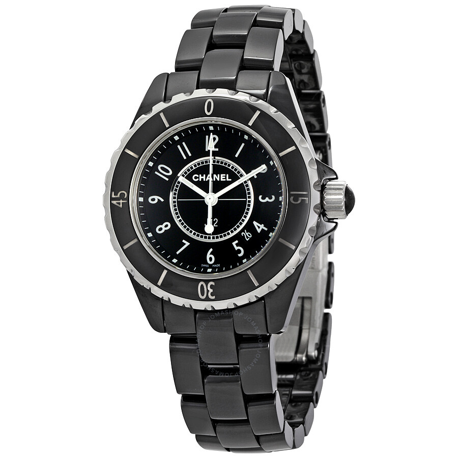 diamond product ceramic watch watches black chanel white