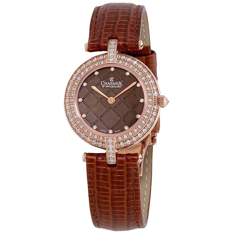 Charmex las vegas diamond crystal brown dial ladies watch 6393 charmex watches jomashop for Crystal ladies watch