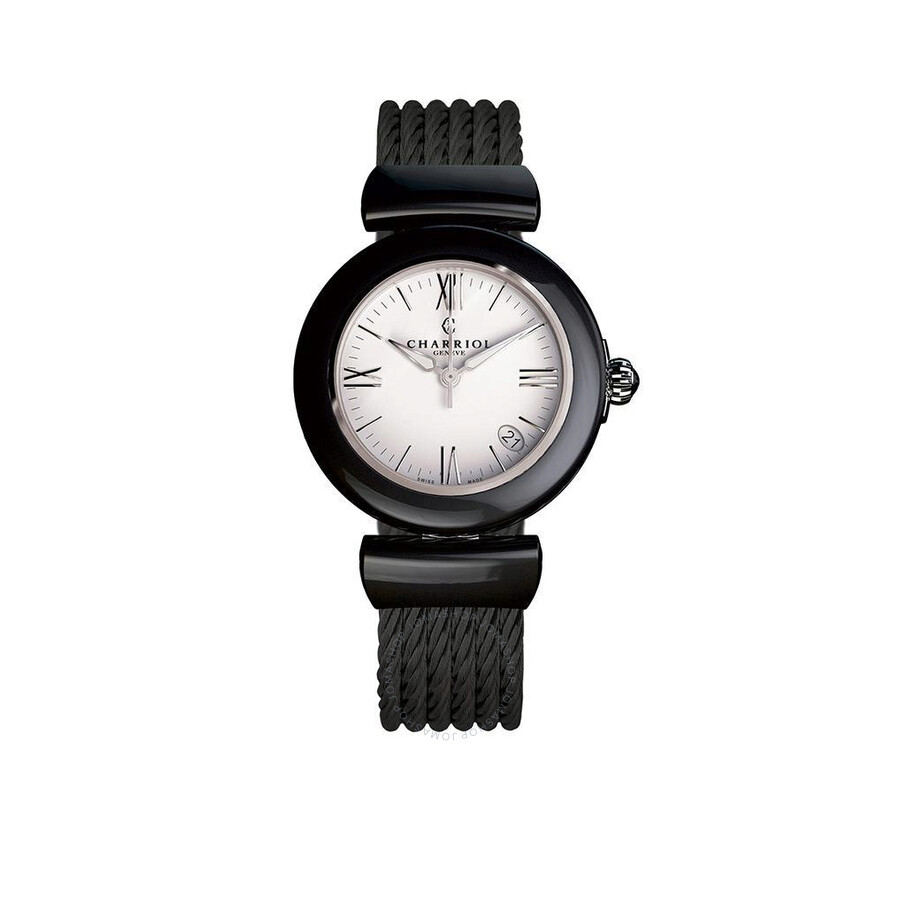 Charriol Ael Analog Display Black Ceramic Bezel White Enamel Dial Ladies Watch AE33CB.565.004
