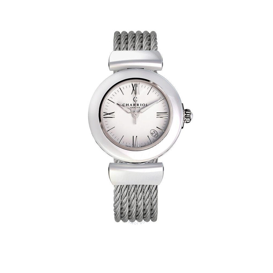 Charriol Ael Analog Display White Ceramic Bezel White Enamel Dial Ladies Watch AE33CW.561.004