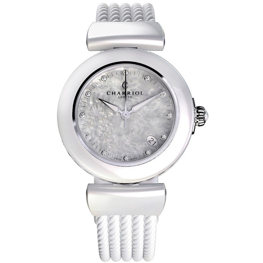 Charriol Ael Analog Display White Ceramic Bezel White Mother of Pearl Dial Ladies Watch AE33CW.561.0