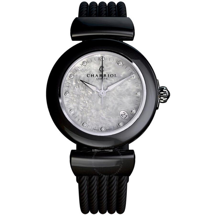 Charriol Ael Mother of Pearl Similis Dial Black Rubber Ladies Watch AE33CB173003