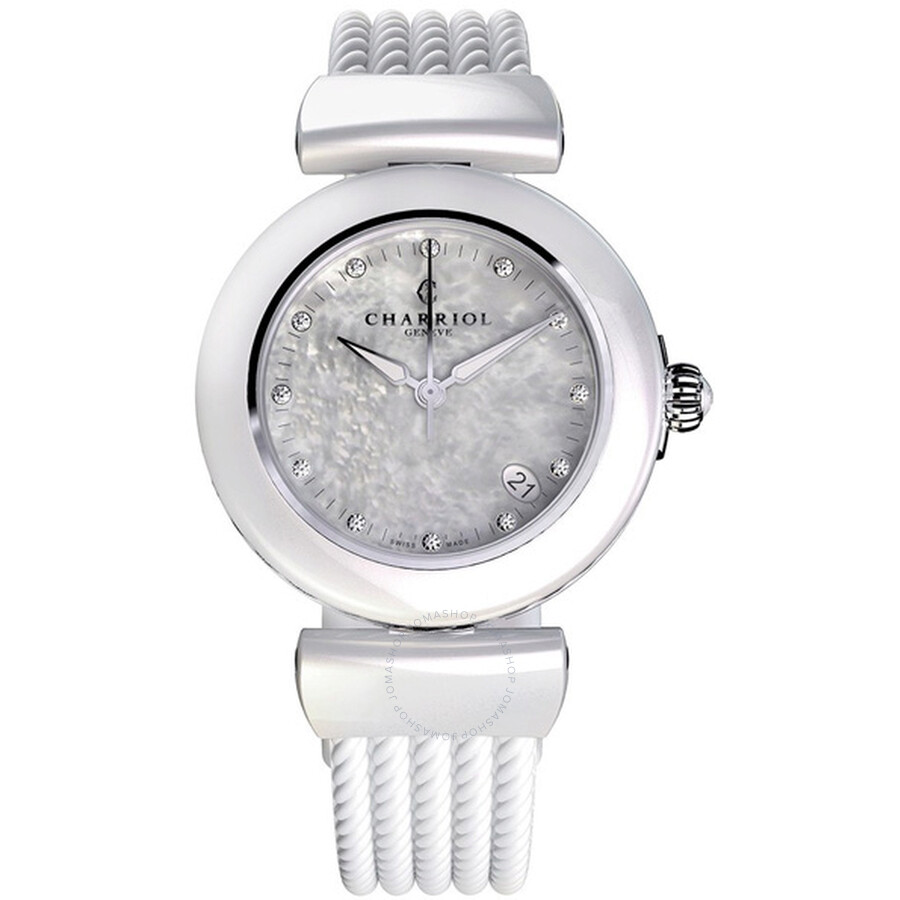 Charriol Ael Mother of Pearl Similis Dial White Rubber Ladies Watch AE33CW174003