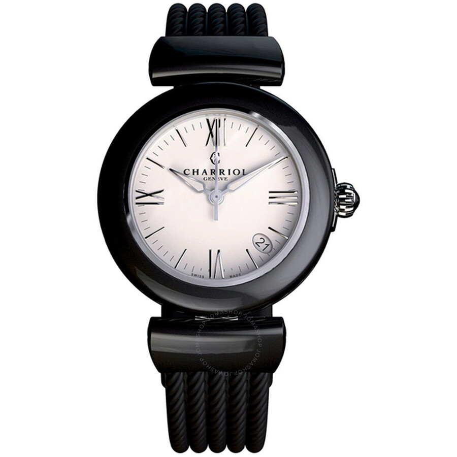 Charriol Ael White Dial Black Rubber Ladies Watch AE33CB173004
