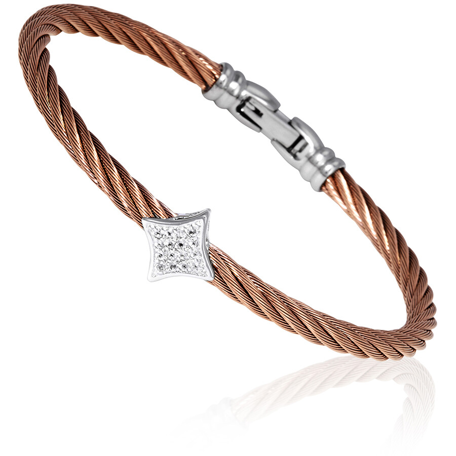 Charriol Les Debutantes Ladies Silver and Rose Gold PVD Bangle Bracelet  04-..