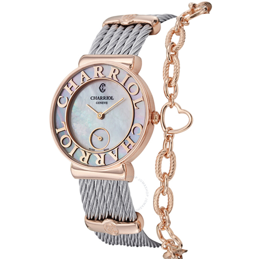 Charriol St Tropez Mother of Pearl Dial Chevron Cable Ladies Watch ST30PC560014
