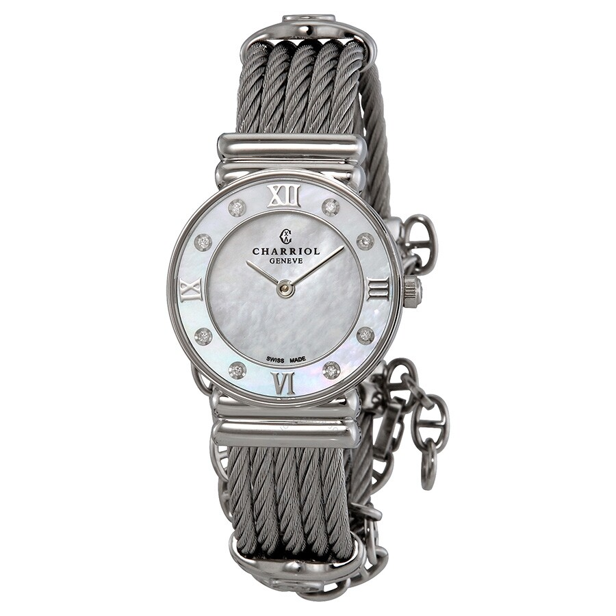 Charriol St Tropez Mother of Pearl Dial Diamond Ladies Watch 028SD1540552
