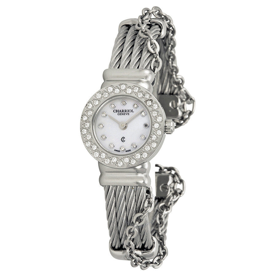 Charriol St Tropez Mother of Pearl Dial Diamond Ladies Watch ST20SD520007