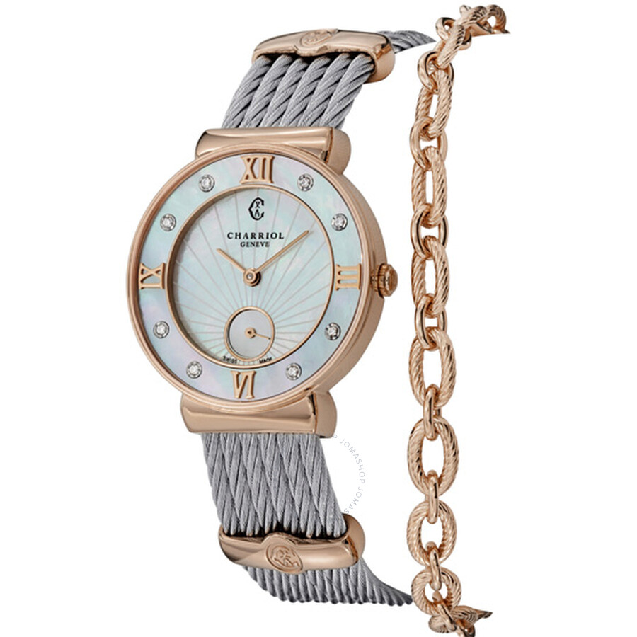 Charriol St Tropez Mother of Pearl Dial Diamond Ladies Watch ST30PD560009