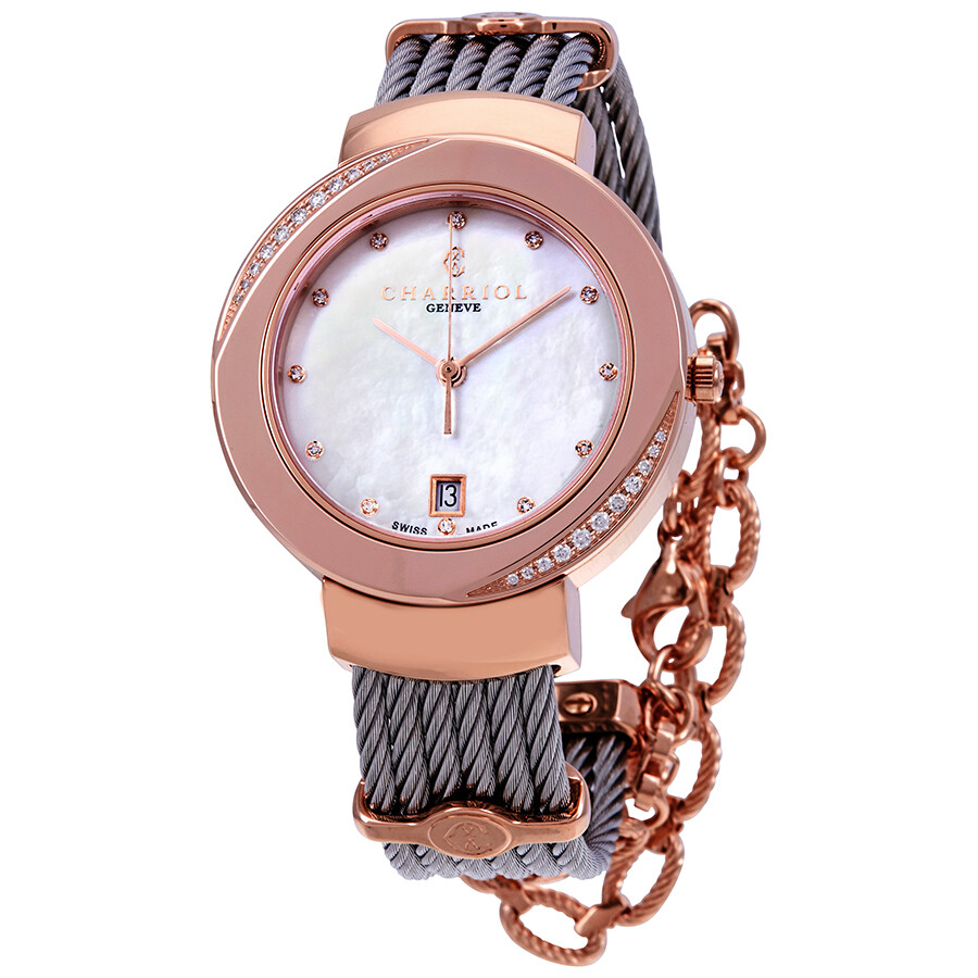 Charriol St. Tropez Diamond White Mother of Pearl Dial Ladies Watch ST35PD1...