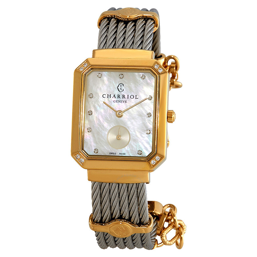 Charriol St. Tropez Mansart Diamond White Mother of Pearl Dial Ladies Watch ..