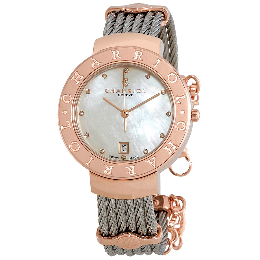 Charriol St.Tropez Diamond White Mother of Pearl Dial Ladies Watch ST35CP.56..
