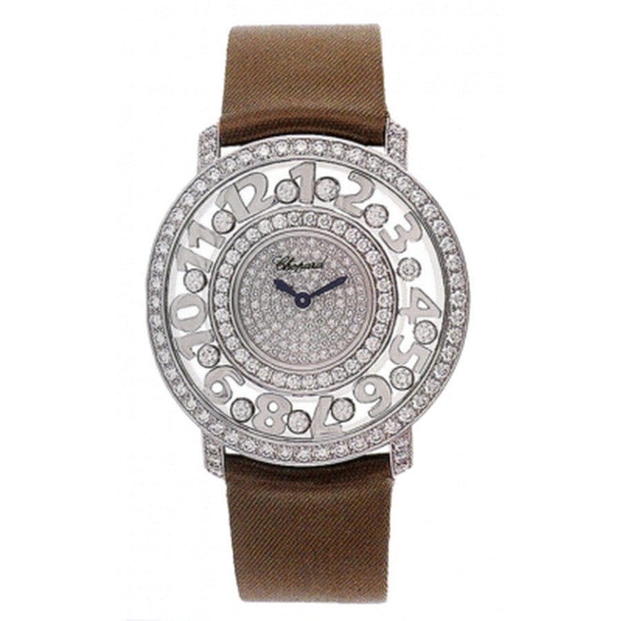 d844888f6b0 Chopard Happy Diamonds Pave Dial 18kt White Gold Brown Leather Ladies Watch  207227-1001