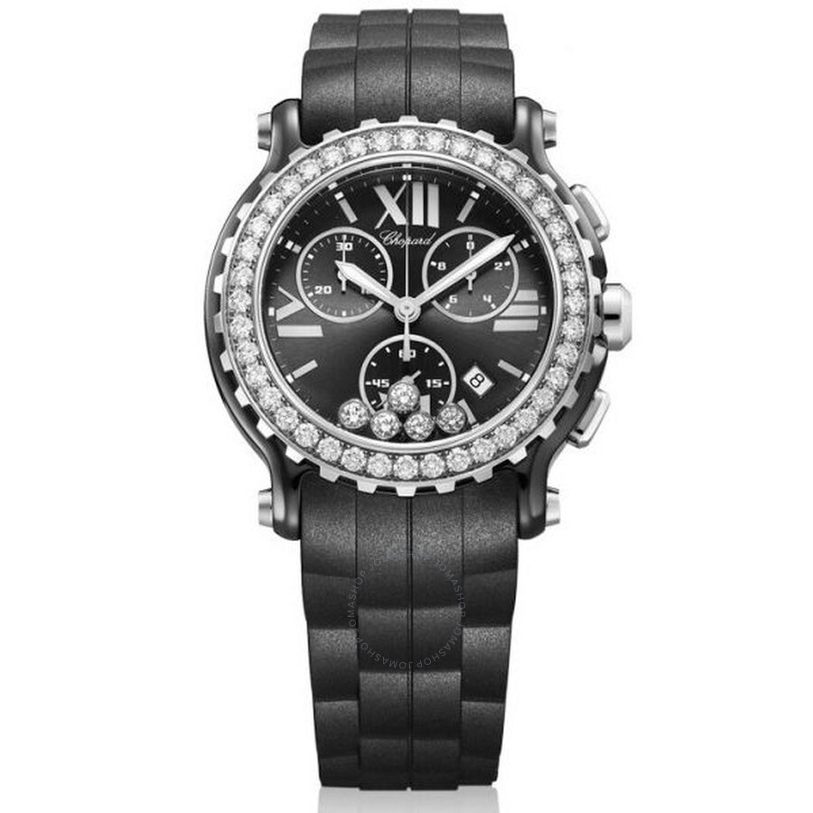 Chopard Happy Sport Black Dial Chronograph Ceramic and White Gold Ladies Watch 288515-9006