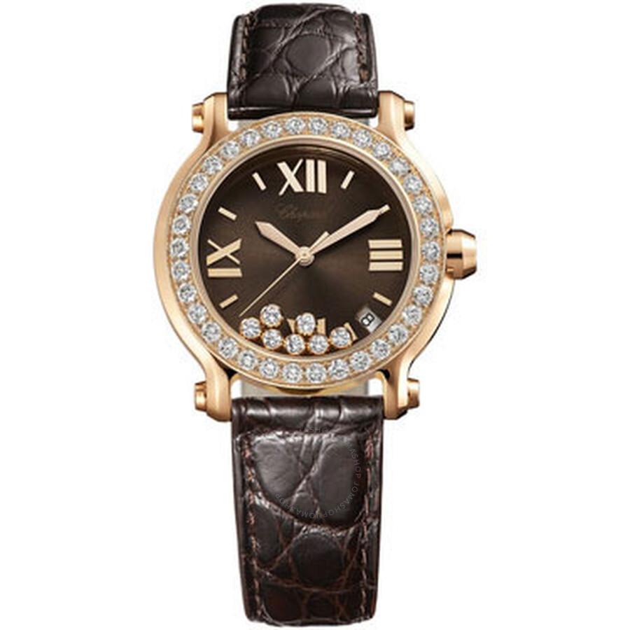 29b8d49af40 Chopard Happy Sport Diamond Brown Dial 18k Rose Gold Ladies Watch  277473-5008