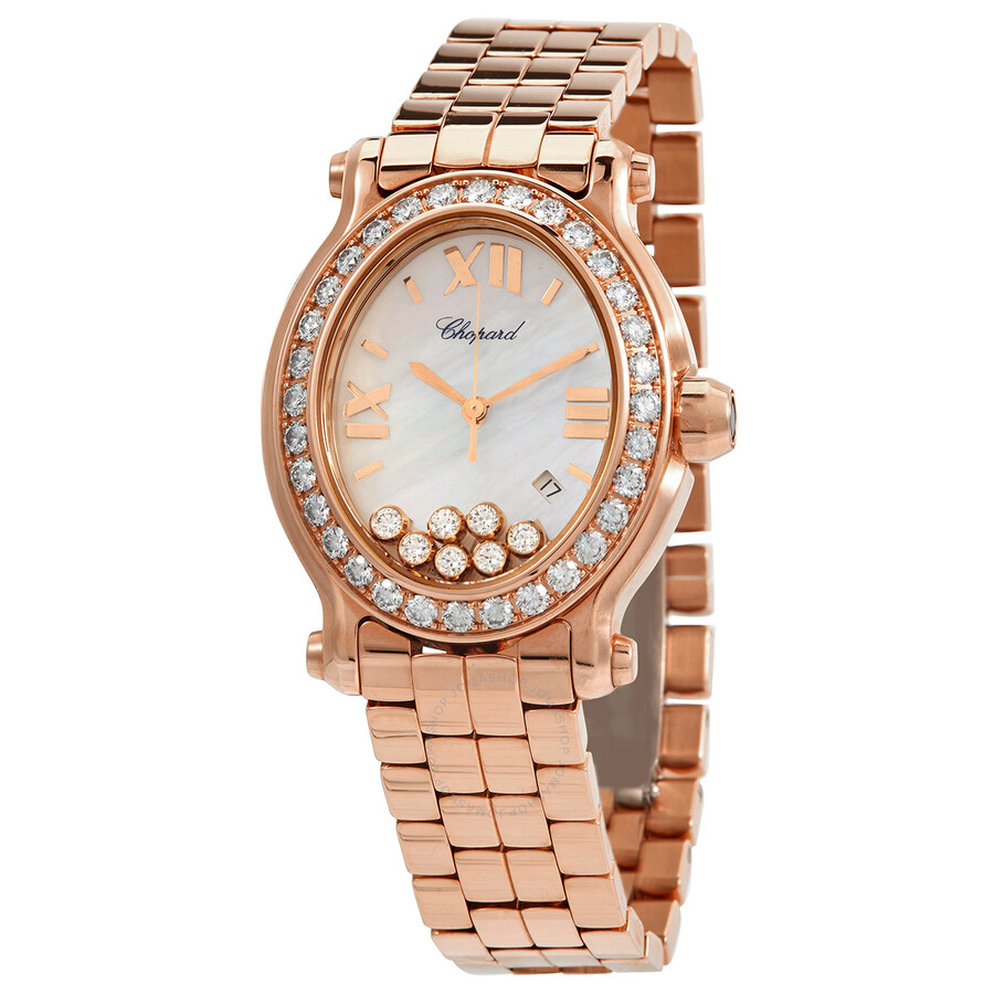 Chopard Happy Sport Mother of Pearl Diamond Dial Rose Gold Ladies Watch 275350-5004