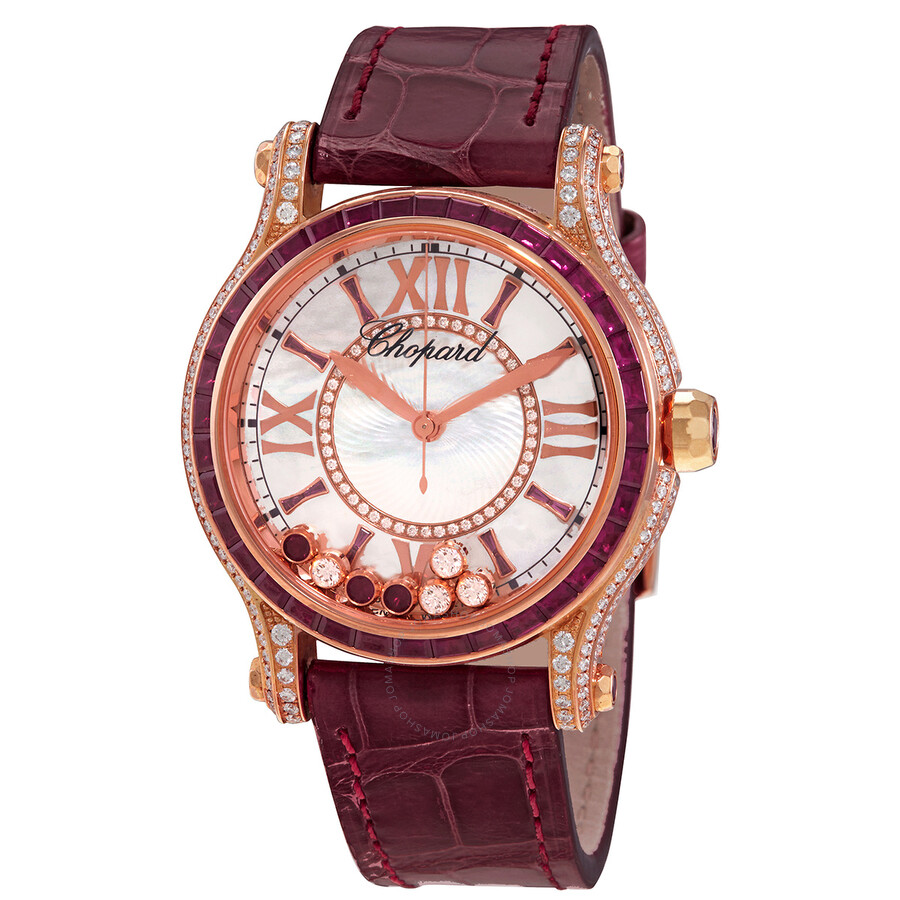 Chopard Happy Sport Mother of Pearl with Diamonds and Rubies Dial Ladies Watch 274891-5004