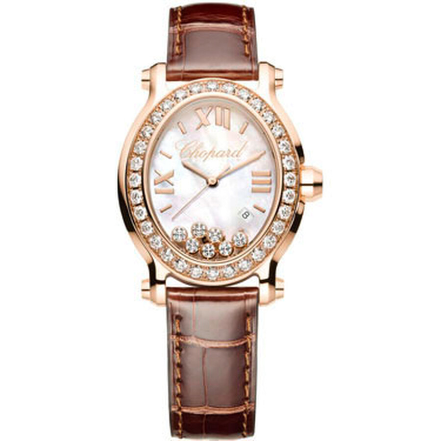 Chopard Happy Sport Oval Mother of Pearl 18k Rose Gold Ladies Watch 275350-5003
