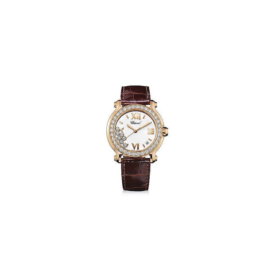Chopard Happy Sport Round Diamond 18 kt Rose Gold Ladies Watch 277473-5001
