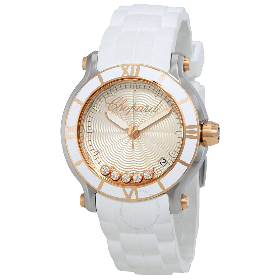 Chopard Happy Sport Silvertone Guilloche Dial Ladies Watch 278551-6002