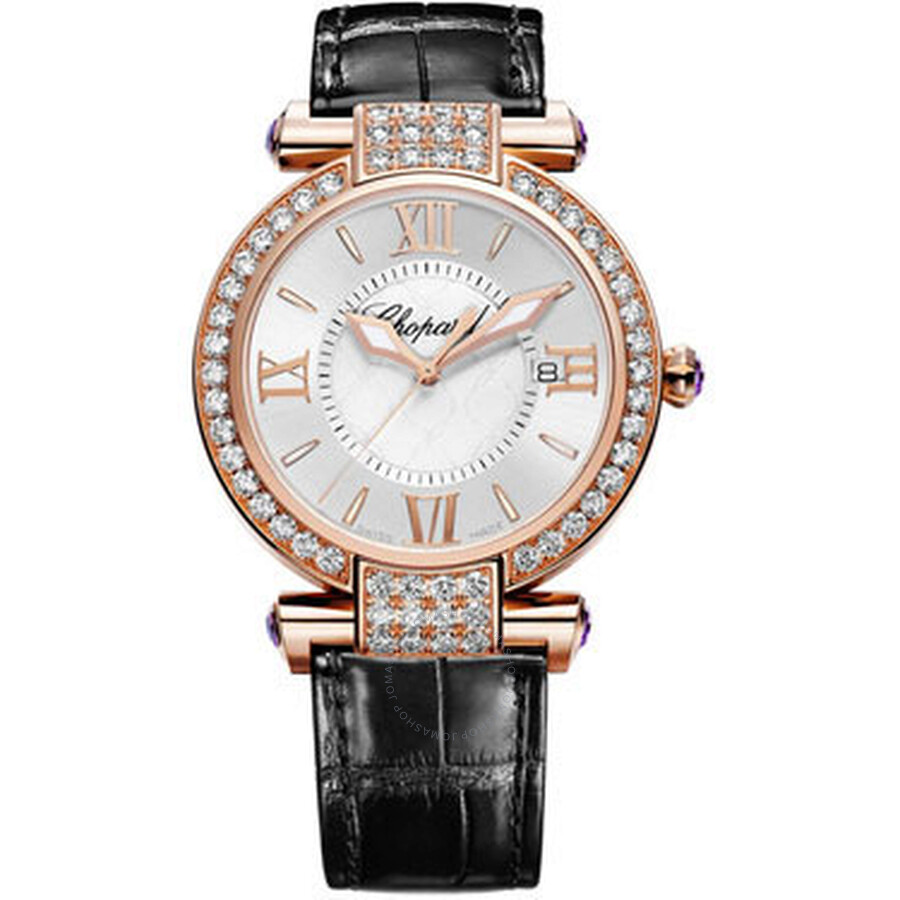 Chopard Imperiale Diamond Mother of Pearl Dial 18 kt Rose Gold Black Leather..