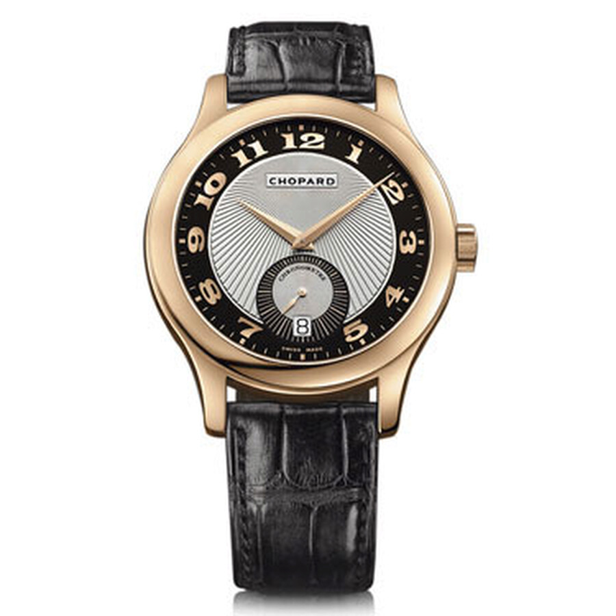 Chopard L.U.C. Classic Mark III Black and Silver Guilloche Dial Automatic Rose Gold Mens Watch 16190