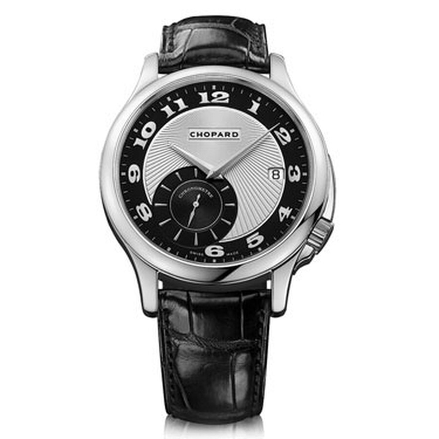 Chopard L.U.C Classic Twist Silver and Black Dial Black Leather Mens Watch 161888-1001