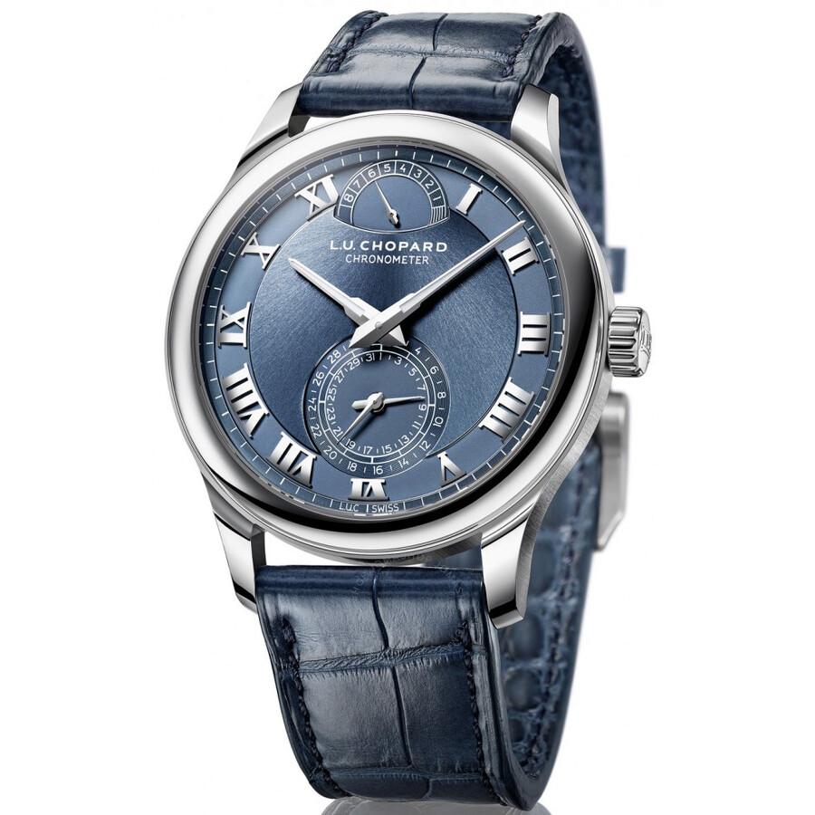Chopard L.U.C Quattro Blue Dial Platinum Mens Watch 161926-9001