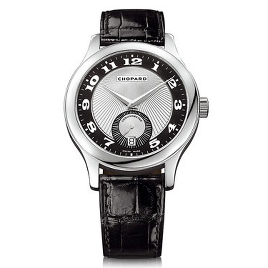 Chopard L.U.C. Quattro Mark II Automatic Black and Silver Guilloche 18 kt White Gold Mens Watch 1619
