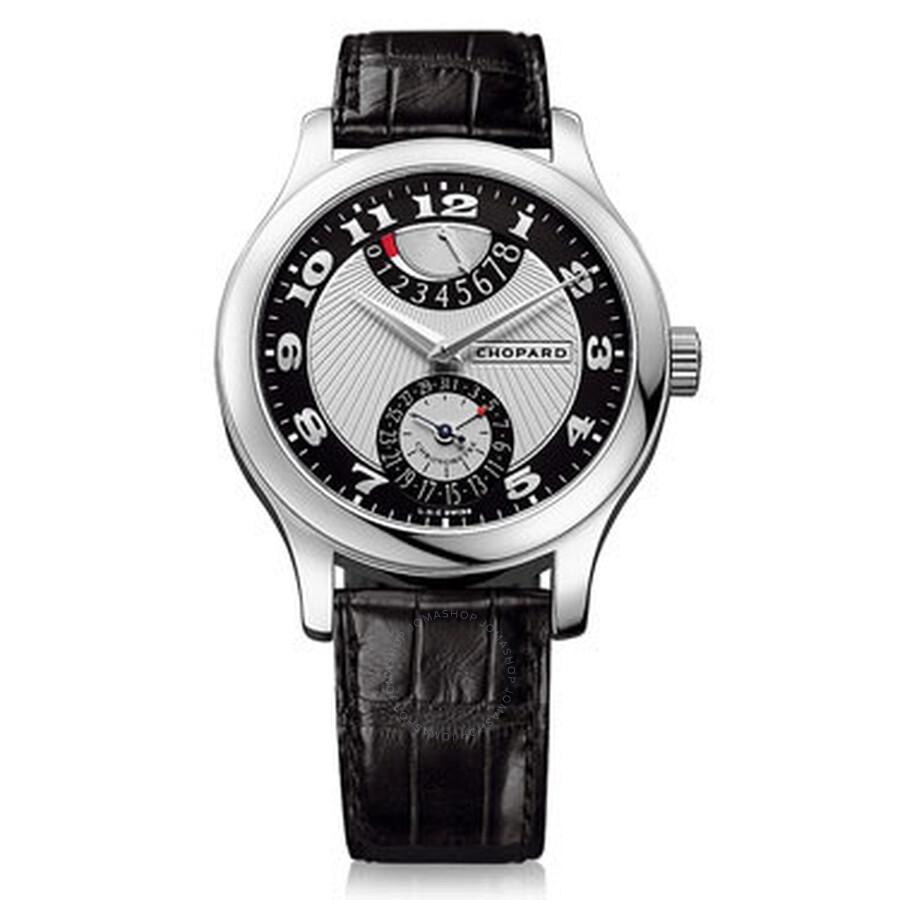 Chopard L.U.C Quattro Mark II Silver and Black Dial Black Leather Mens Watch 161903-1001