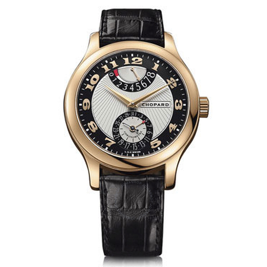 Chopard L.U.C Quattro Mark II Silver and Black Dial Black Leather Mens Watch 161903-5001
