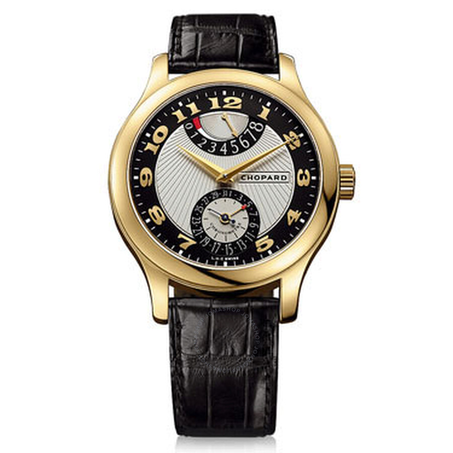Chopard L.U.C Quattro Mark II Silver and Black Dial Yellow Gold Black Leather Mens Watch 161903-0001
