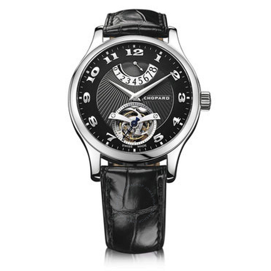 Chopard L.U.C. Tourbillon Automatic Black Dial 18 kt White Gold Mens Watch 161906-1001