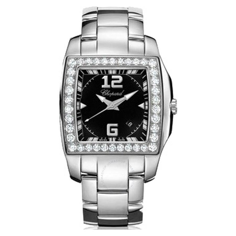 Chopard Two O Ten Black Dial Diamond Bezel Ladies Watch 108464-2004