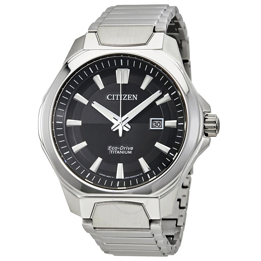 Citizen Eco-Drive Black Dial Mens Titanium Watch AW1540-88E