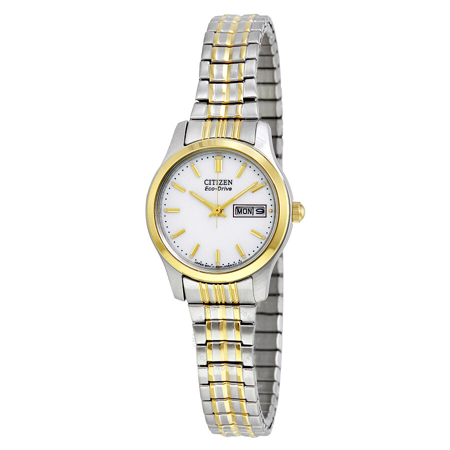 Citizen Eco-Drive Expansion White Dial Two-tone Ladies Watch EW3154-90A