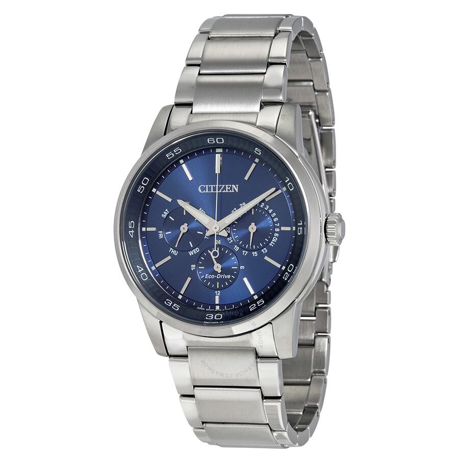Citizen eco drive multi function blue dial men 39 s watch bu2010 57l mens dress citizen for Eco drive watch