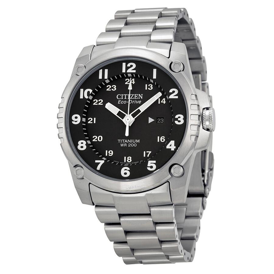 Citizen Eco Drive STX43 Black Dial Titanium Men's Watch ...