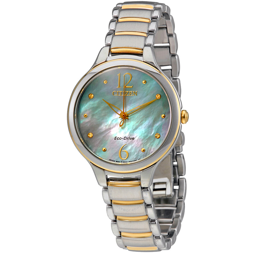 Citizen L Mother Of Pearl Dial Ladies Two Tone Watch EM0554-58N