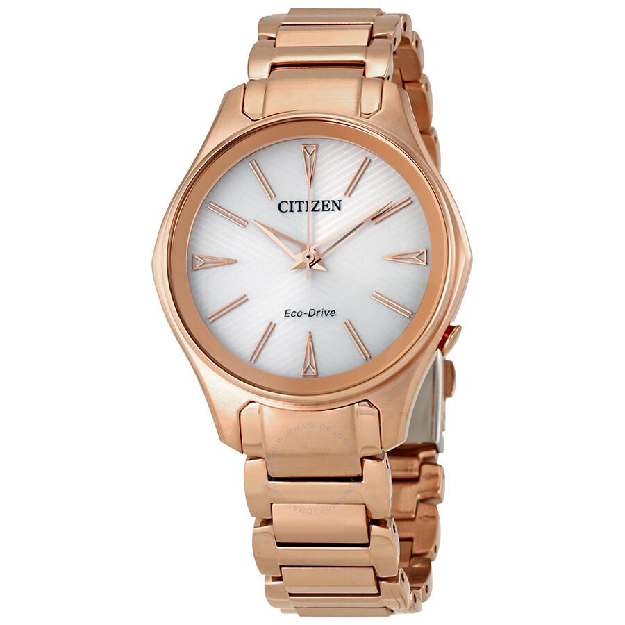 Citizen Modena White Dial Ladies Rose Gold Tone Watch EM0593-56A