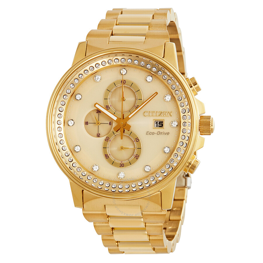 Citizen Nighthawk Eco-Drive Chamagne Dial Gold-Tone Watch FB3002-53P