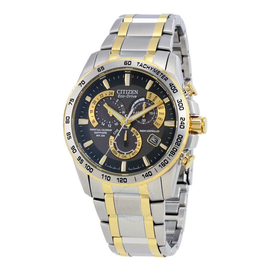 Citizen Perpetual Chrono A-T Black Dial Two-tone Mens Watch AT4004-52E