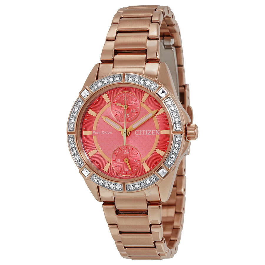 Citizen POV Eco-Drive Coral Dial Ladies Watch FD3003-58X