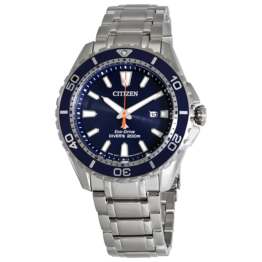 Citizen promaster diver blue dial men 39 s stainless steel watch bn0191 55l promaster citizen for Stainless steel watch