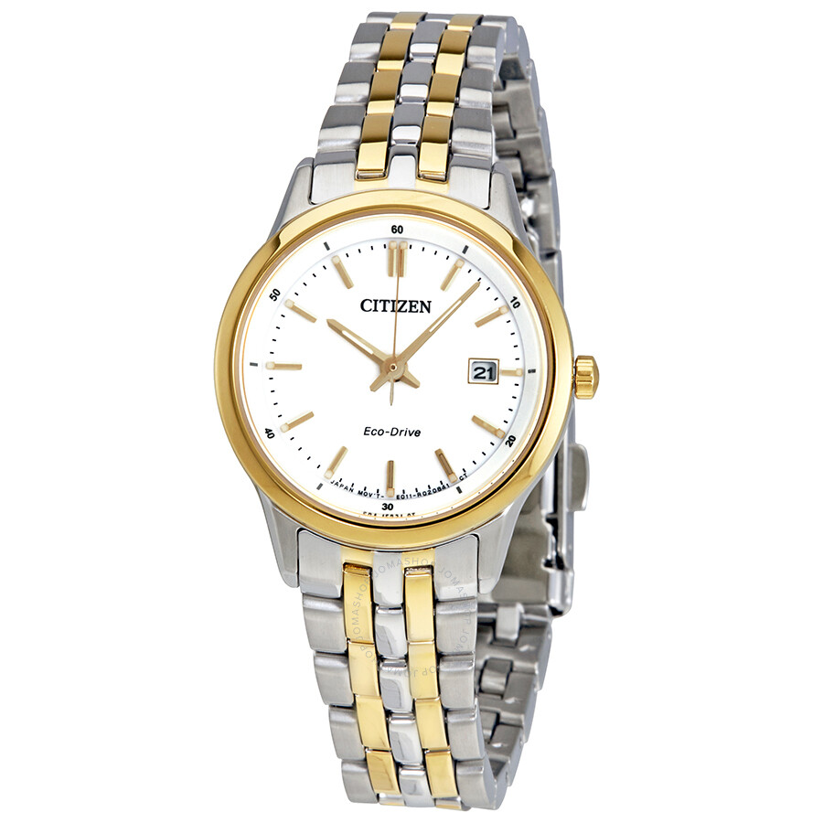 Citizen Sapphire Eco-Drive White Dial Ladies Watch EW2404-57A