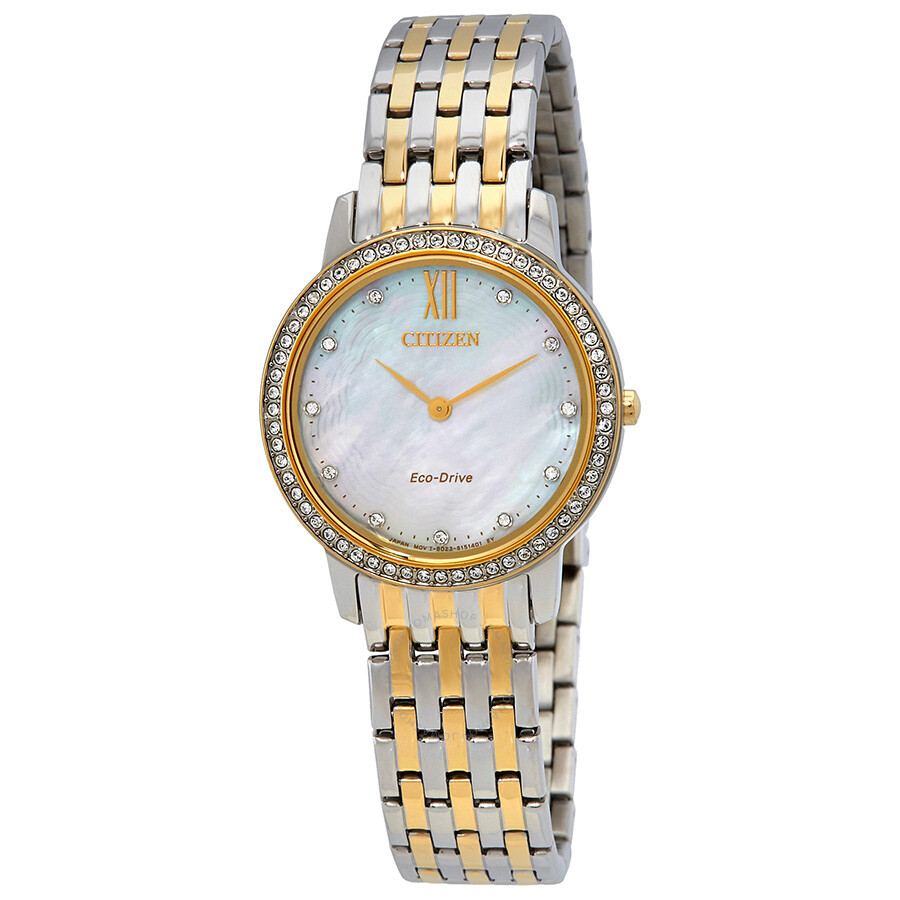 Citizen Silhouette Crystal Mother of Pearl Dial Ladies Watch EX1484-57D