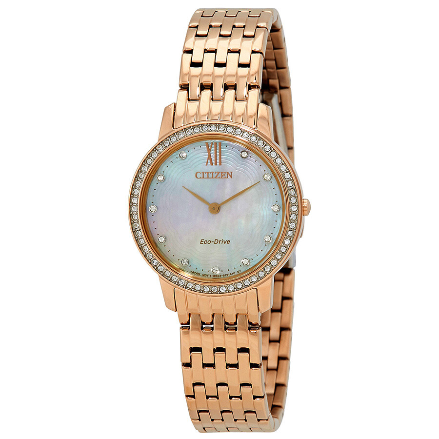 Citizen Silhouette Crystal White Mother of Pearl Dial Ladies Watch EX1483-50D
