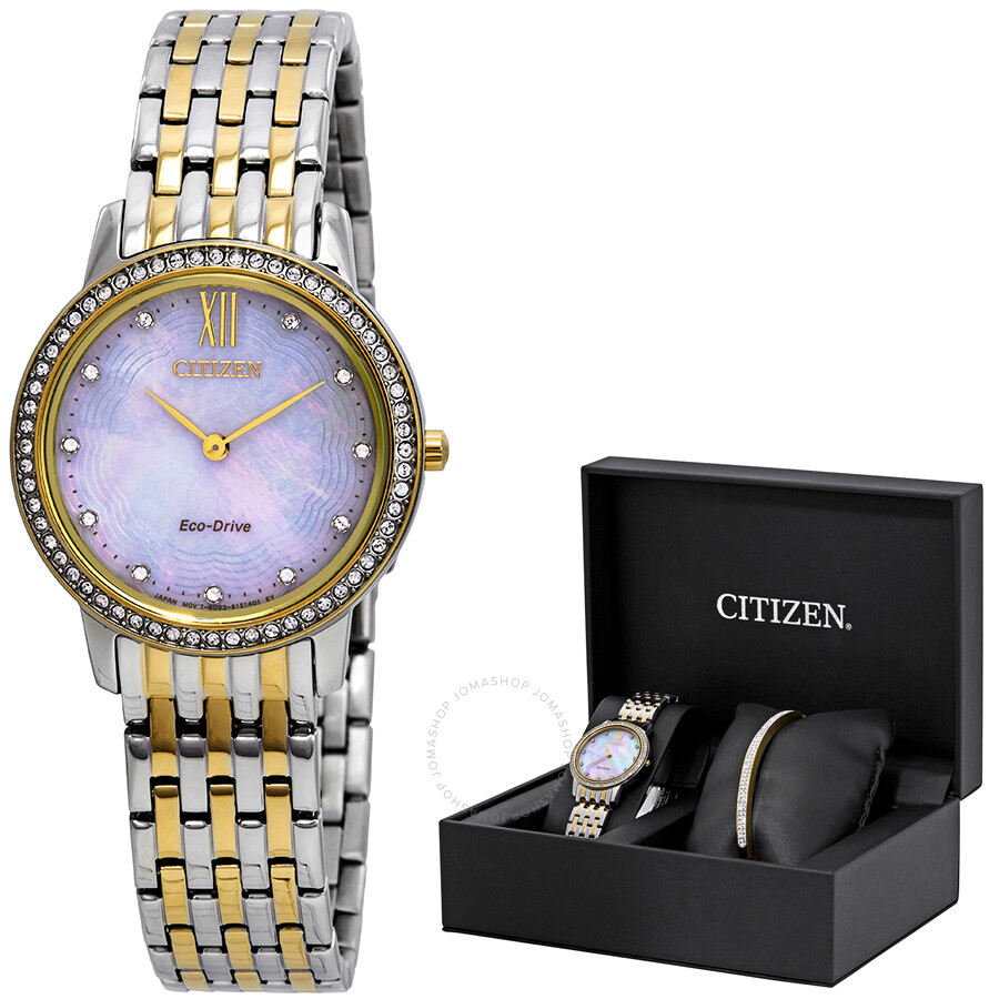 Citizen Silhouette Crystal White Mother of Pearl Dial Ladies Watch EX1484-65D