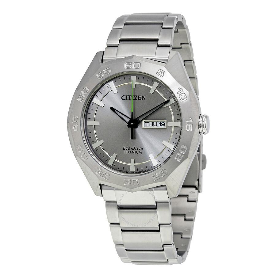 Citizen Super Silver Dial Titanium Mens Watch AW0060-54A