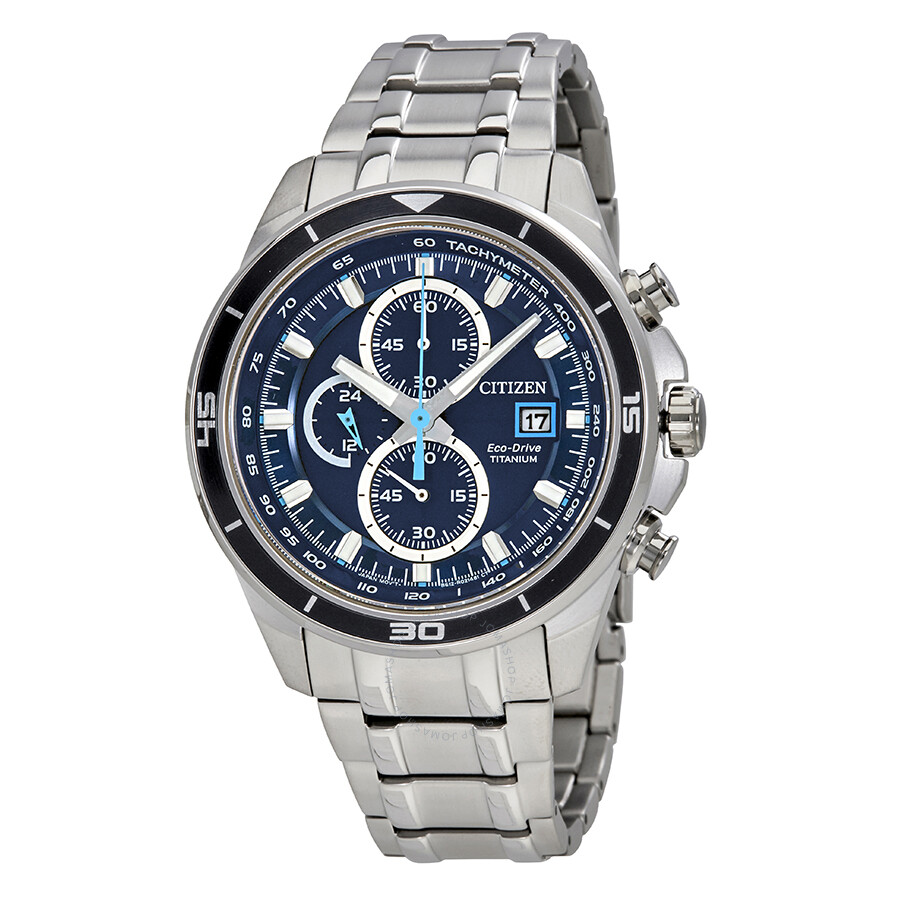 Citizen TI+IP Chronograph Blue Dial Mens Watch CA0349-51L